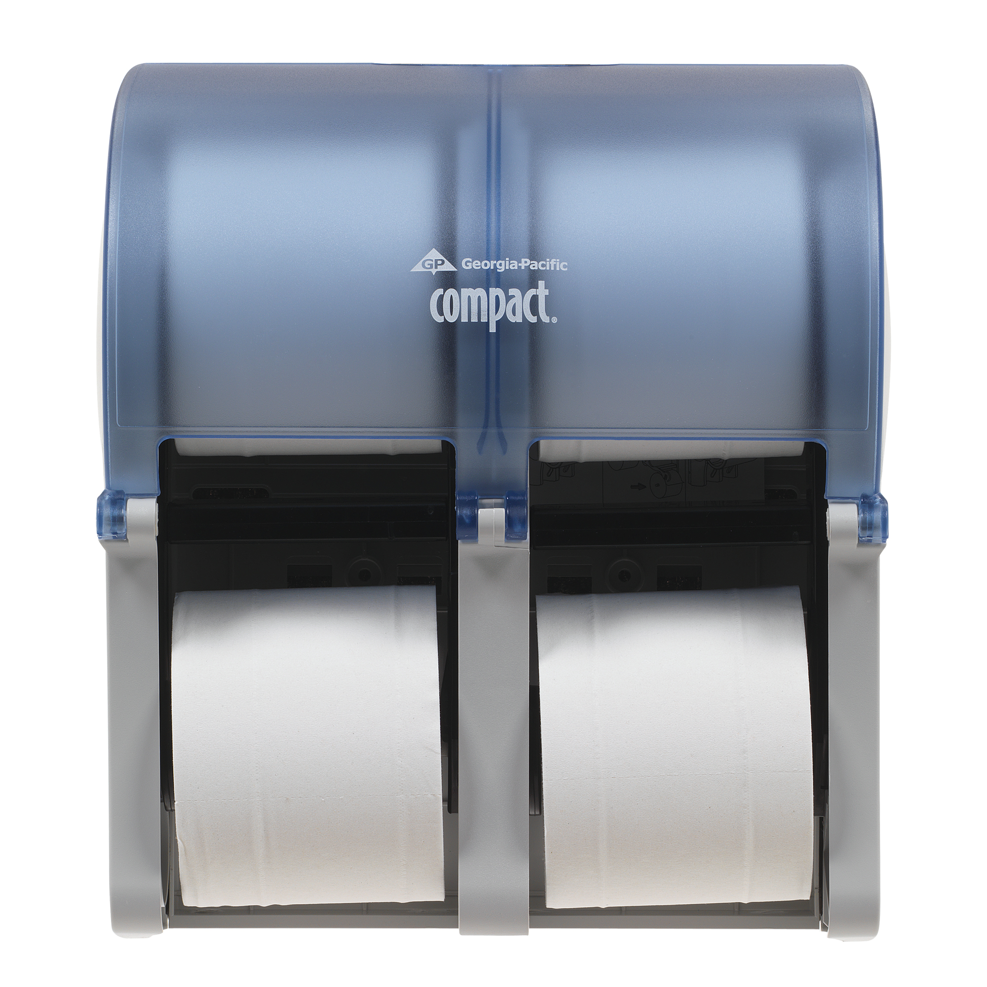 10073310567430 Compact® Quad™ Splash Blue Vertical Four Roll Coreless Tissue Dispenser