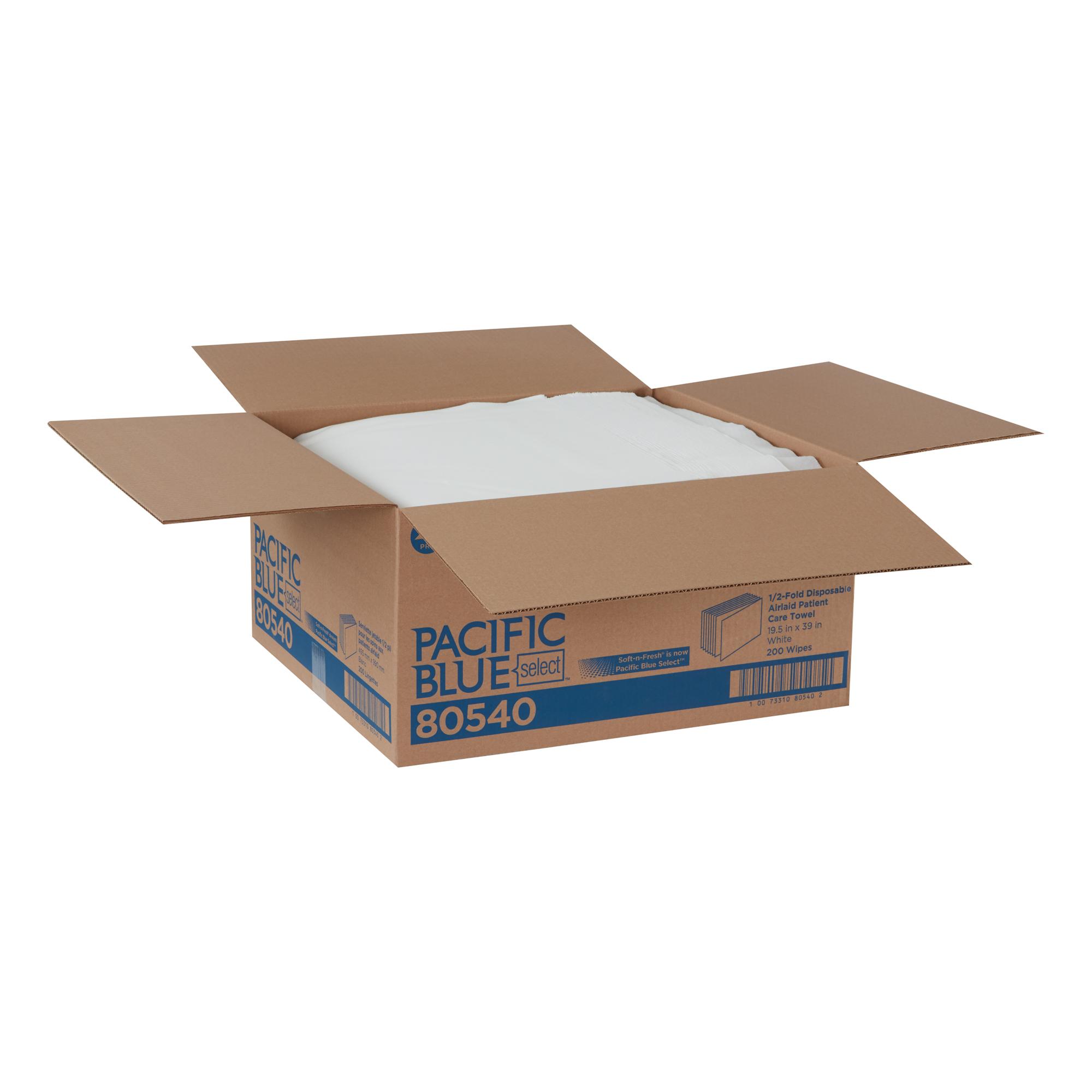 GP PRO Pacific Blue Select  A300 Disposable Patient Care Bath Towel, 1/2-Fold, White