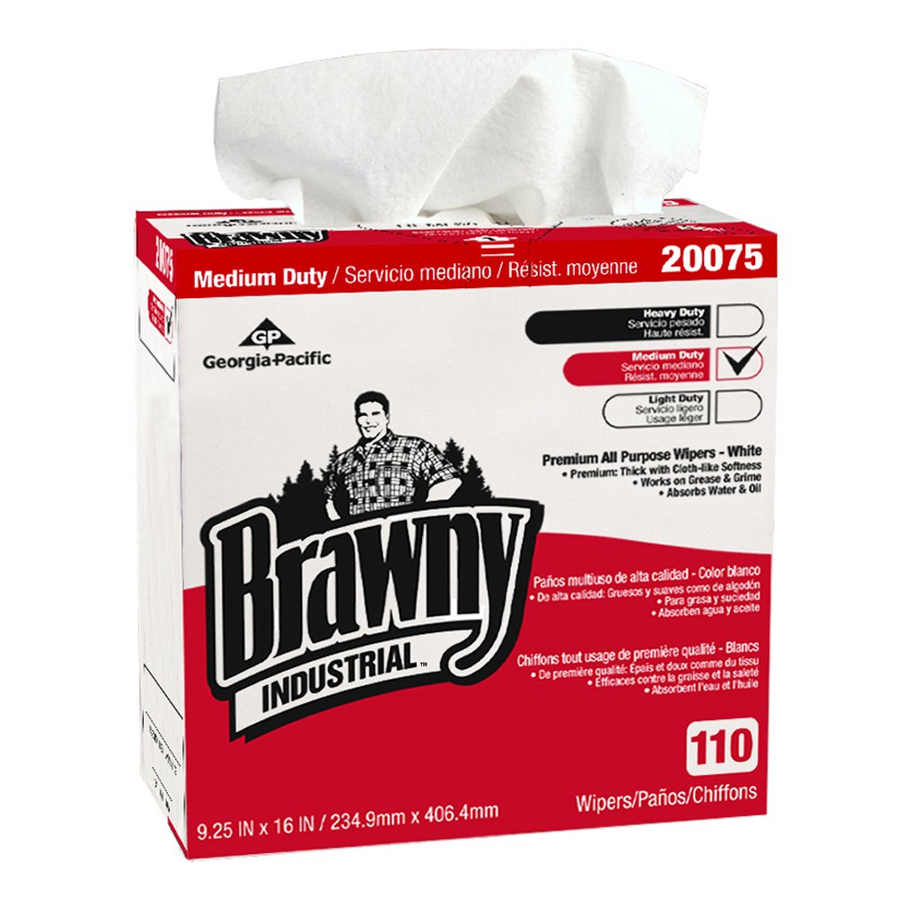 10073310200757 Brawny Industrial™ White Premium All Purpose DRC Wipers (Tall Dispenser Box)