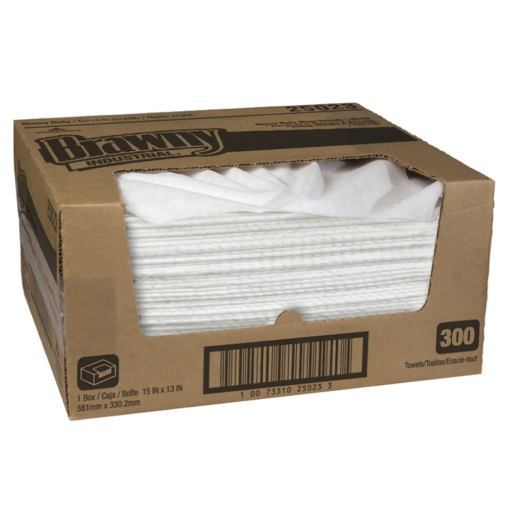 10073310250233 Brawny Industrial™ White Heavy Duty Shop Towels (Flat Pack)