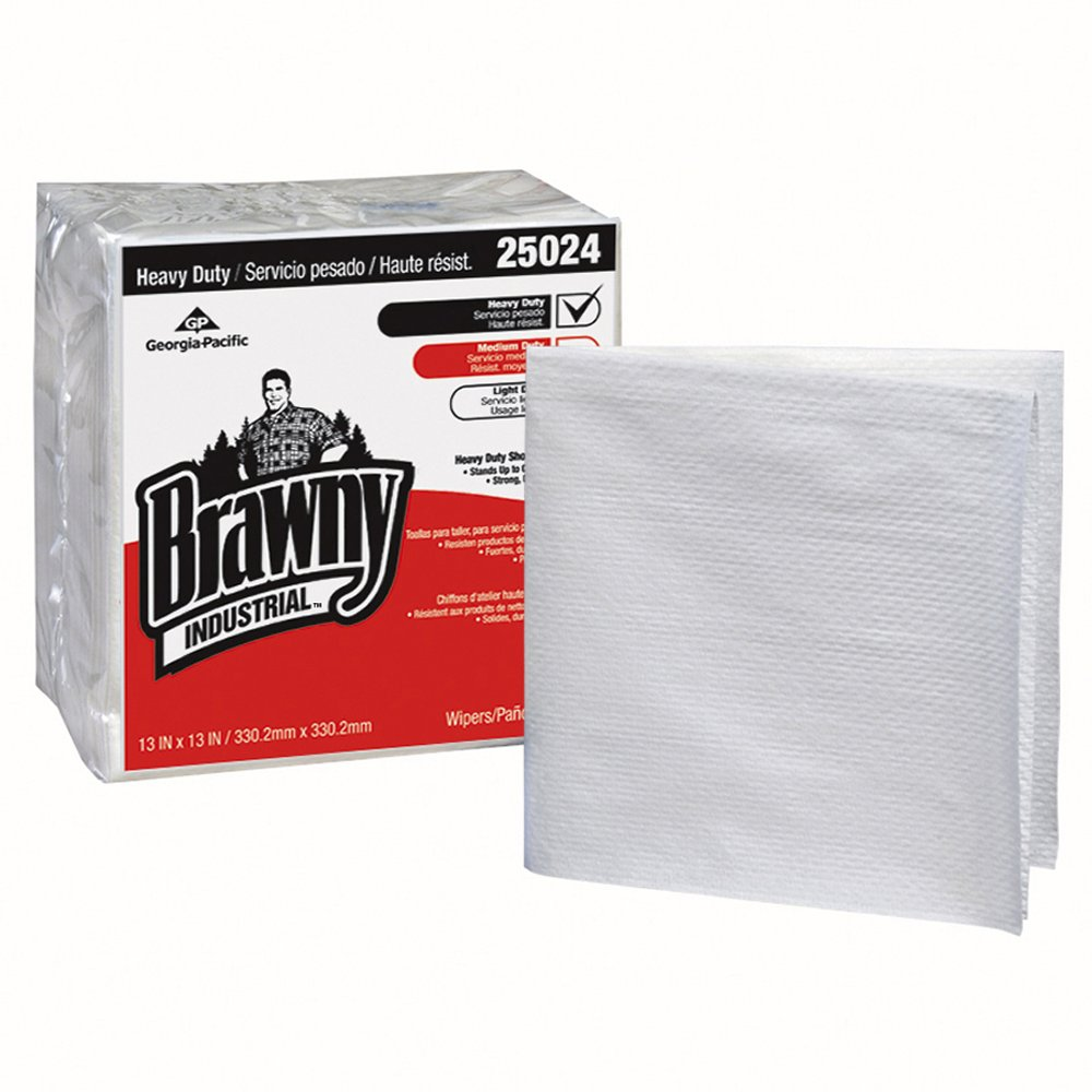 10073310250240 Brawny Industrial™ White Heavy Duty 1/4 Fold Shop Towels