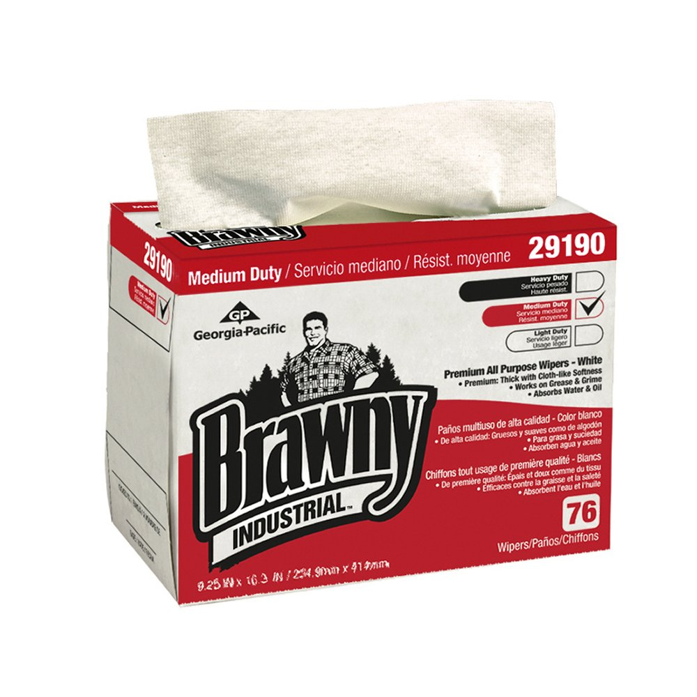 10073310302246 Brawny Industrial™ White Medium Duty All Purpose Airlaid Light Wipers