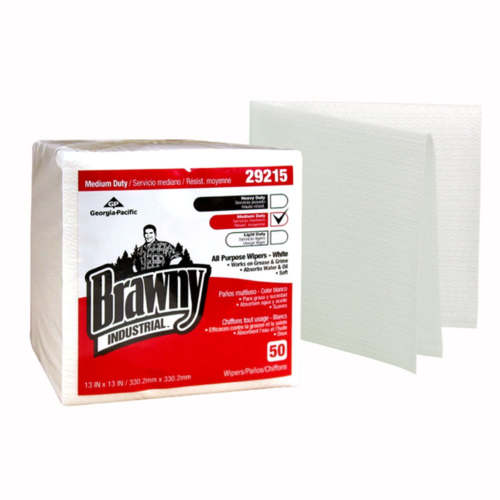 10073310292158 Brawny Industrial™ White Medium Duty All Purpose Airlaid 1/4 Fold Wipers