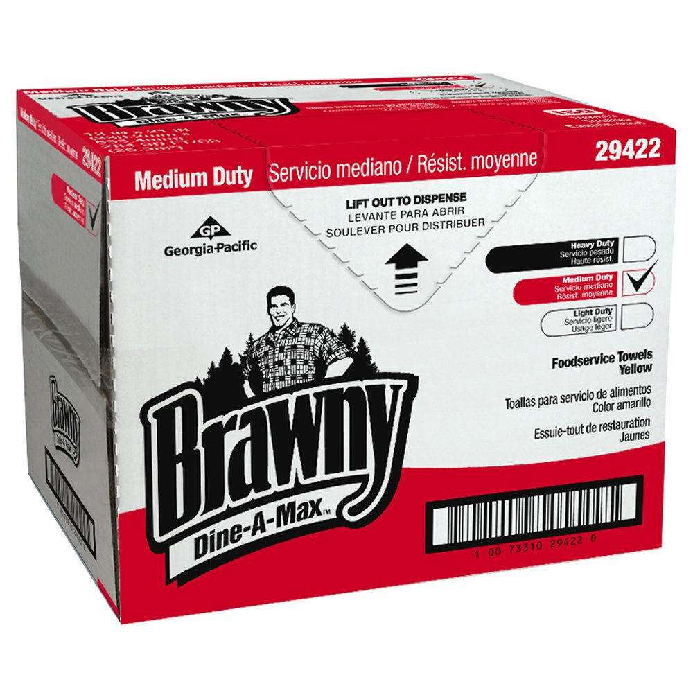 10073310294220 Brawny Dine-A-Max� Yellow All Purpose Food Preparation and Bar Towel (HEF 1/4 Fold)