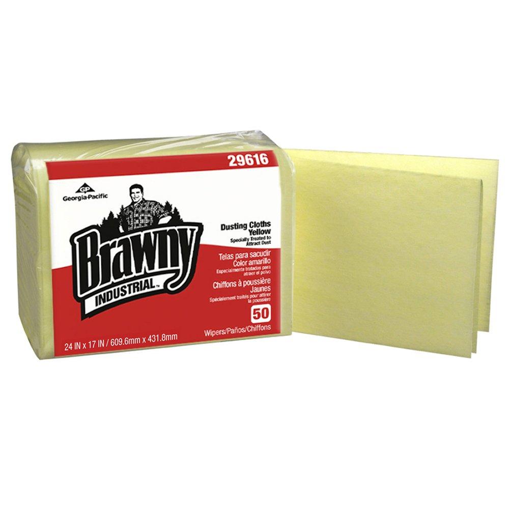10073310296163 Brawny Industrial™ Yellow Dusting Cloths - Quarter Fold