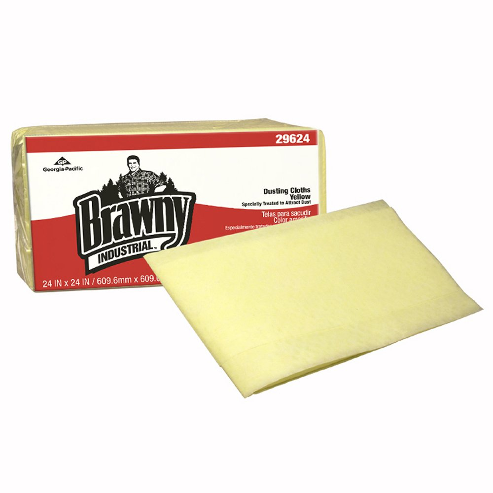 10073310296248 Brawny Industrial™ Yellow Dusting Cloths - Quarter Fold