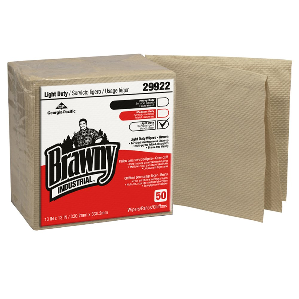 10073310299225 Brawny Industrial� Brown Light Duty Wipers Paper 3-Ply 1/4 Fold