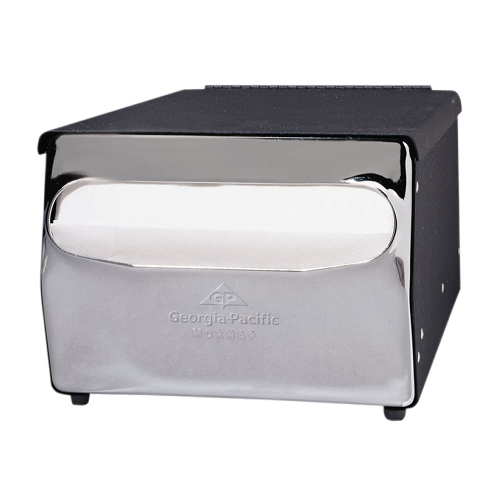 00073310512020 MorNap� Black & Chrome Full Fold Cafeteria Model Napkin Dispenser