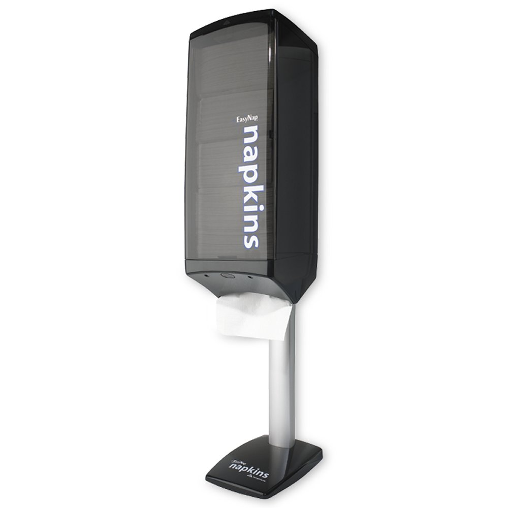 10073310542239 EasyNap� Black-Translucent Smoke Face Wall or Pole Mount Tower Napkin Dispenser
