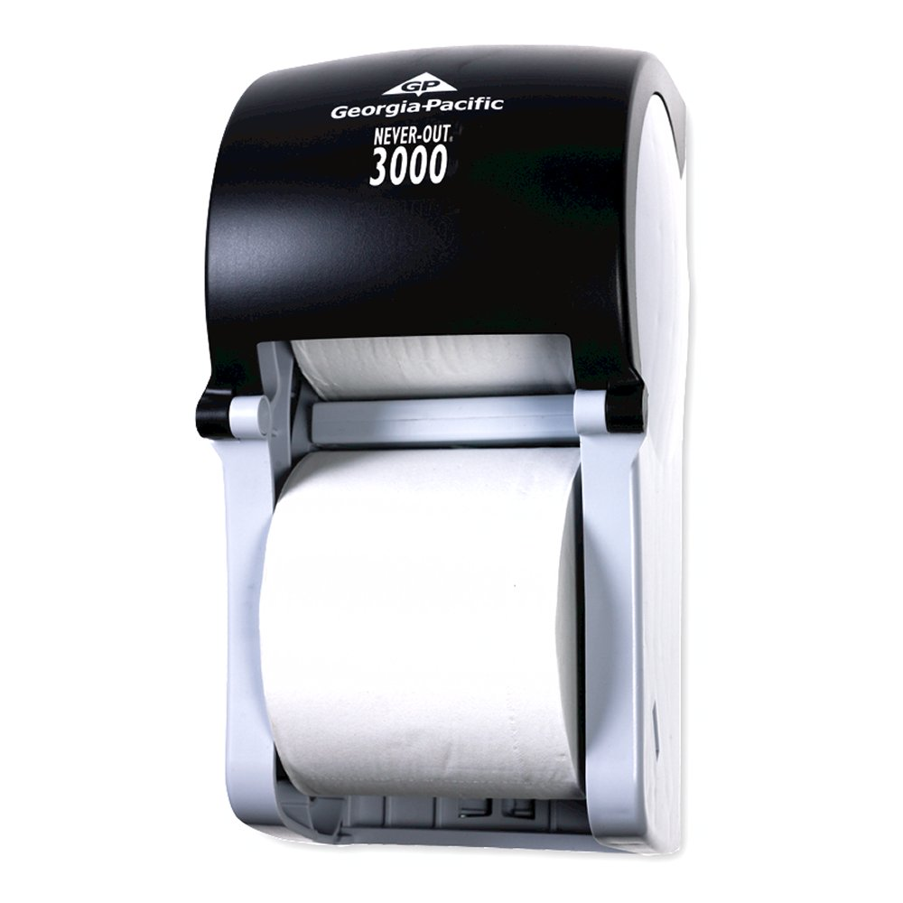 10073310567195 NeverOut 3000� Black Vertical 2 Roll High Capacity Bathroom Tissue Dispenser