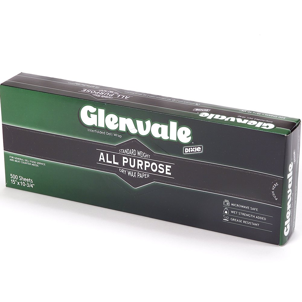 10078731600322 Glenvale� White Interfolded Medium Weight Dry Waxed Deli Papers 10